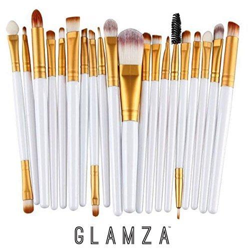 Glamza Lot de 20 pinceaux de maquillage pour les yeux Blanc