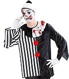 Halloween-Kostüm Horror Clown, Oberteil schwarz/weiß, mit Kragen und Bommel, Gr. M+XL *NEU bei Pibivbi (XL)