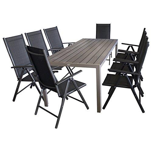9tlg. Sitzgruppe Gartengarnitur Sitzgarnitur Terrassenmöbel Gartenmöbel Set - Gartentisch, Polywood Tischplatte, 205x90cm + 8x Hochlehner, klappbar, 7-fach verstellbar, 2x2 Textilen