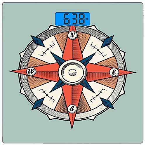 Digitale Präzisionswaage für das Körpergewicht Platz Pfeil Ultra dünne ausgeglichenes Glas-Badezimmerwaage-genaue Gewichts-Maße,Kompass Illustration Pfeile Kartografie Reiseweg Immer nach Norden,Türki