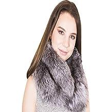 Bufanda de piel mujer, piel 100% auténtica zorro color plateado, suave, cálida