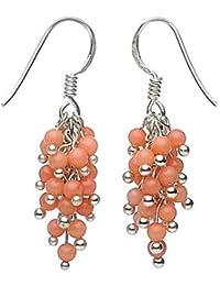 Ohrhänger in Traubenform aus Koralle & 925 Silber orange hellorange Ohrringe