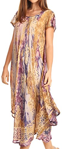 Vestito lungo dalla manica corta del manicotto di colore del marmo di Sakka Ginette con il merletto del crochet Viola / Latte