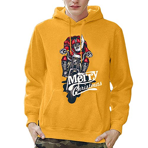 Price comparison product image Lazzgirl Mens Printed Christmas Pullover Long Sleeve Hooded Sweatshirt Tops Blouse(XX-Large, Yellow)