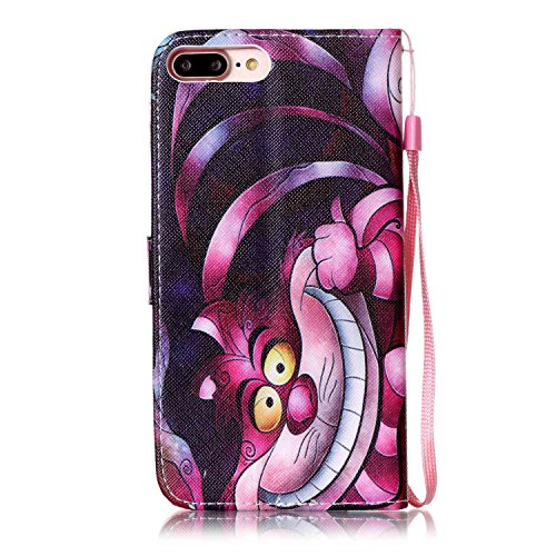 Custodia per Apple iPhone 7, TOCASO Flip Wallet Case PU Pelle [Strap/Lanyard] Caso per Apple iPhone 7 Portafoglio Cover Ultra Sottile Leather Protettivo Cases Covers Shell ID Carta Slots Caso Guscio C Sorriso Gatto