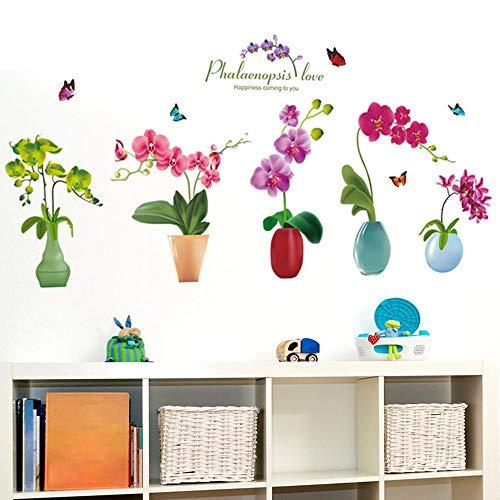 XCGZ Wandsticker Entfernbare Wandaufkleber Aufkleber Wohnzimmer Hintergrund Wanddekorationen Töpfe Vasen Vergossen Schöne Kreative Schranktür Aufkleber 114 * 50 cm (Dschungel-tier-vasen)