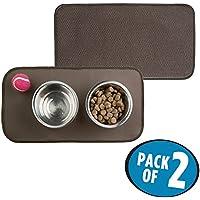 mDesign Set da 2 Tappetino sottociotola assorbente – Da stendere sotto le ciotole per cani o gatti – Prodotti per animali funzionali e facili da lavare – caffé/avorio