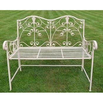 Cream Wrought Iron Garden Bench~ Tia Garden Bench