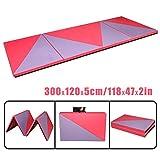 CCLIFE 300x120x5cm Weichbodenmatte Turnmatte Klappbar Gymnastikmatte Farbeauswahl, Farbe:Rosa&Lila, 3-Fach faltbar
