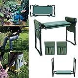 Qulista Garten Sitzbank Kniebank Gartenbank Kniekissen zusammenklappbar mit Werkzeugtasche ca. 60 x 27 x 49cm max. 250 lbs (Mit 2 Seitentaschen, Grün)