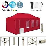 Vispronet Faltpavillon Faltzelt Pavillon Klappzelt Basic 3 x 6 m, Rot (4 Zeltwände - Davon 1 Wand mit Tür) - Weitere Farben und Größen Lieferbar
