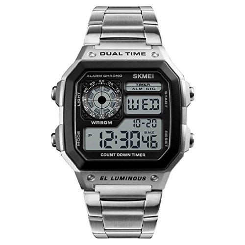 ukcoco 1335Sportuhr Digital wasserdicht Uhren Armband Elektronische Countdown Alarm Uhr (Silber)