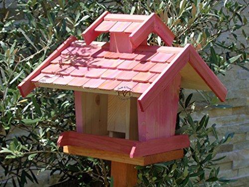 Vogelhaus-futterhaus, BEL-X-VOVIL4-pink002 Großes PREMIUM Vogelhaus WETTERFEST, QUALITÄTS-SCHREINERARBEIT-aus 100% Vollholz, Holz Futterhaus für Vögel, MIT FUTTERSCHACHT Futtervorrat, Vogelfutter-Station Farbe pink rosa rosarot süß, MIT TIEFEM WETTERSCHUTZ-DACH für trockenes Futter