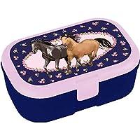 Lutz Mauder Lunchbox * Pferdefreunde * für Kinder Brotdose ohne Namensdruck | Perfekt für Mädchen | Vesperdose Brotzeitbox Brotzeit Pferde Pony Reiten Schule Grundschule Einschulung