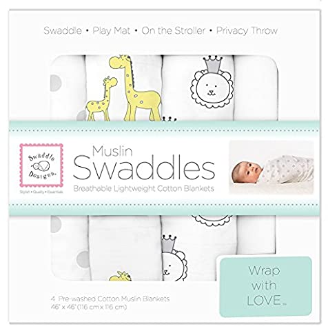 SwaddleDesigns Maxi Langes Mousseline de Coton, Amis de la Jungle, Argent, Set de 4