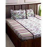 Story@Home 100% Cotton Bed Sheet for Double Bed with 2 Pillow Covers Set, Candy Queen Size Bedsheet Series, 120 TC, Vivid Floral Pattern, Pink