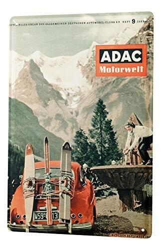 LEotiE SINCE 2004 Blechschild Dekoschild Nostalgie Nostalgie Werbeplakat ADAC Motorwelt Zeitschrift 1956 Ski Berge Oldtimer 20x30 cm -