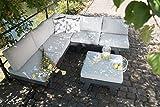 greemotion 128510 Lounge Set Aluminium Panama-Alu Loungeset 3 teilig für Garten & Terrasse-Outdoor Garnitur in Anthrazit & Grau mit 2 Liegen als Eckbank & Hocker, 22,6 x 7,4 x 6,6 cm - 16