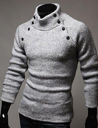 GS~LY Maglioni uomo MEN - Maglioni - Vintage/Informale/Feste/Lavoro Supporto - Maniche lunghe Cotone/Raion , light gray , xxl