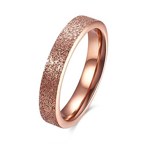 Yazilind Modeschmuck Exquisit Roségold vergoldet Ringe Titan Stahl Größe 16.6