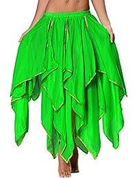 Seawhisper jupe de danse du ventre en mousseline de soie 16 panneau jupe maxi/longue orientale avec bordure brillante