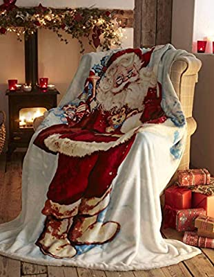 Portfolio Fleece Throw Decorative Bed Sofa Blanket Throwover Xmas Santa Claus, Polyester-Cotton, Multi-Colour, Full