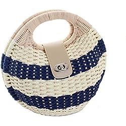 GAOQQ Sommer Strohsack Freizeit Rattan Tasche Süße Schönheit Stil Tasche Handtasche Ländlichen Weben Strandtasche,Blue