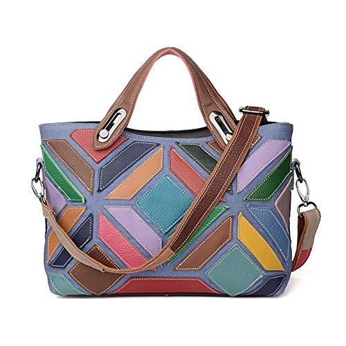 NOBIE-BAG Damenhandtaschen Aus Europäischem Und Amerikanischem Leder, Kontrastnaht Mit Geometrischem Muster Umhängetasche Aus Leder, Erste Lage (Mini-taschenrechner Casio)