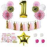 SUNBEAUTY Anniversaire 1 an Fille Rose Or Ballon Deco Decoration Fete Papier Pompon de Soie Tassel Photo Booth Birthday (Rose)