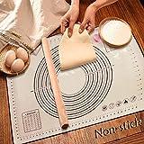 Sinwind Silikon Backmatte Baking Mat BPA frei Silikonmatte Nonstick mit Messungen Fondant Teig Gebäck Backmatte Teigmatte Wiederverwendbar für Fondant Gebäck Pizza Matte (60 X 40cm Schwarz)