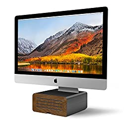 Twelve South HiRise Pro for iMac / Displays | Height-adjustable stand w/ storage, reversible front + leather inlay
