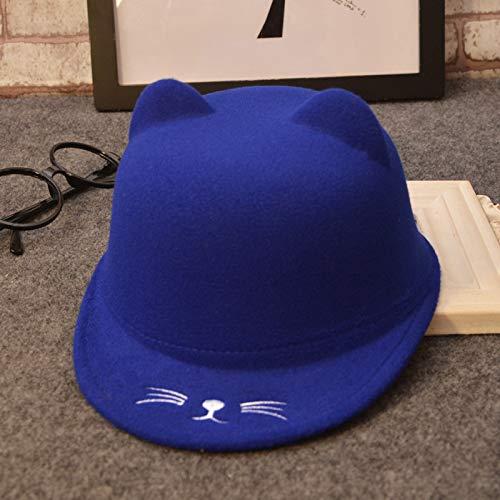 mlpnko New Kinder Wollmütze Cartoon Katze Baby Hut Stickerei Jungen und Mädchen Reiterhut Schatz blau geeignet für Kopfumfang 51~54cm (Fisch Kostüm Katze Im Hut)