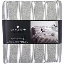 Funda nórdica de Franela para cama doble - Calidad superior - Color GRIS - 260 x 240 cm