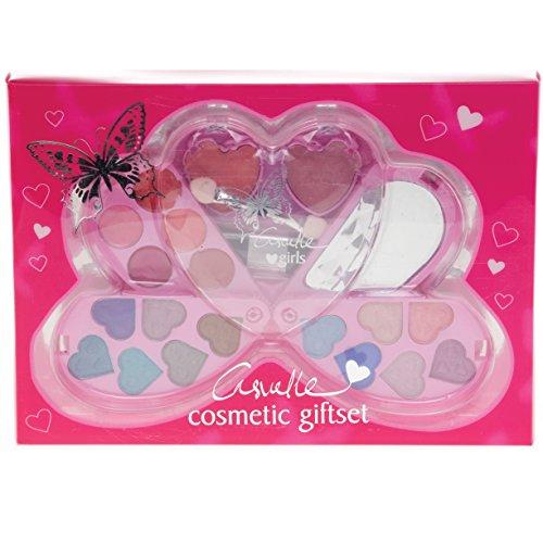 Boutique Beauté 90 Coffret Maquillage 12 Fard à Paupières + 5 Brillant à Lèvres + 2 Fards Joue + Applicateur Double pour Enfant Forme Cœur