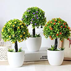 Laiza Artificial Leaves Plant (Size 7.2 Inches/ 19cms) with Wooden Pot-0923P-80 Home Decor