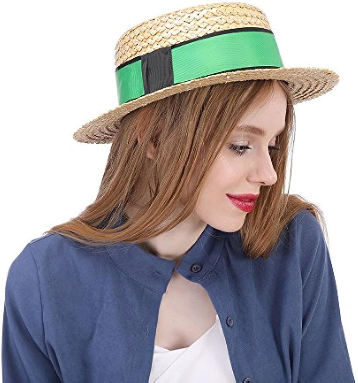 WCS Cappello da sole di paglia per con le donne con per cappello verde  Boater Sunhat cad8e9da6dbc