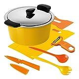 Kuhn Rikon 30683Hotpan Casseroles 3L/22cm, acier inoxydable, jaune/orange, 38x 27,5x 15,5cm, 5unités