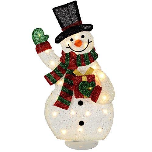 WeRChristmas 82 cm, altura de silueta de tamaño grande Pre-Lit de muñeco de nieve con 35 luces...
