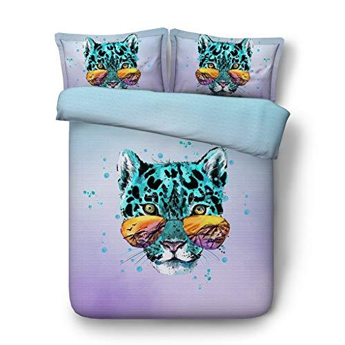 ezug Wildlife Bettbezug Sets Teens Jungen Dekorative 3 Stück Tagesdecke Mit 2 Kissen Shams Keine Tröster (Farbe : Leopard Coverlet, größe : Cal King) ()