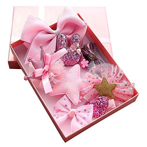 Haarbögen für Mädchen Baby Haar Clip für Kinder Boutique Haarklammern Haarschmuck Set mit Geschenkbox für Kleinkind Barrettes 10pcs (Rosa) (Boutique-kleine Mädchen-kleidung)
