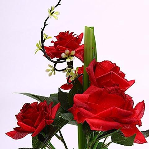 Pingofm Pots de fleurs artificielles Blooming Salon décoré Salon Aménagé en Afrique Ju Décorations de fleurs et plantes artificielles avec Floral d'ameublement Fleur roses fleurs artificielles