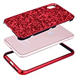 Coque iPhone X Rouge,Coque iPhone 10,Slynmax Silicone Paillette Strass Brillante Bling Bling Glitter de Luxe,Bumper Housse Etui de Protection [Ultra Fin] [Anti Choc] pour Apple iPhone X + 1 * Noir Stylo-Série Glamour