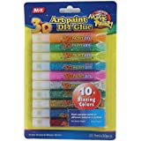 Yellow Bee 3D Glitter Paint - Pack of 10, Multi,105ML