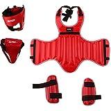 T TOOYFUL Set di Protezioni per Allenamento da Boxe - Copricapo Copricapo, Petto, Inguine, Parastinchi - Universale Fit Unisex Uomo, Donna, Gioventù, Bambini - - Rosso