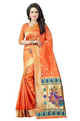 Shree Sanskruti Women's Tussar Silk Saree With Blouse Piece (Paithani 3 Orange_Orange)