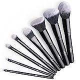 Anjou Pinceaux Maquillages Professionnels de 8pcs, Pinceaux pour le visage Poils Synthétiques Vegan pour fond de teint, blush, correcteurs pour les yeux - Noir