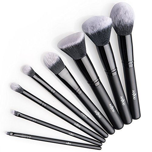 Brochas Maquillaje profesional 8 Piezas de Anjou, Set de Brochas de Maquillaje...