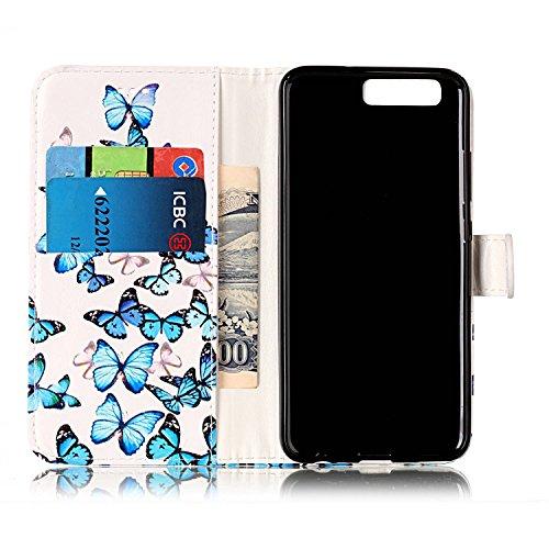 Huawei P10 Coque Mode,Coque Cuir Etui Pour Huawei P10,Ekakashop Bookstyle Flip Cover Clapet Rabat Shell Couvercle Magnétique Portefeuille Housse Protectrice Wallet Case Etui avec Motifs de Orchidée Cr Petit Papillon Bleu