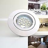 10er-Set LED Einbaustrahler PAGO 230V Farbe: Weiß - inkl. austauschbarem LED-Leuchtmittel in Warm-Weiß