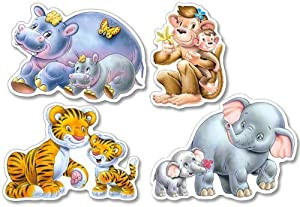 CASTORLAND-4X Puzzle Jungle Babies 24 Pz Puzle, Multicolor (1504126)
